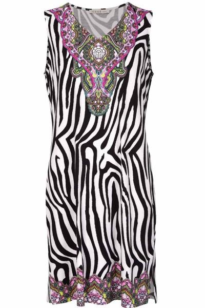 Féraud Nachtkleid Tunikastil Zebradruck