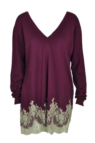 Marjolaine Seiden Cashmere Pullover Diablesse Violett-Beige